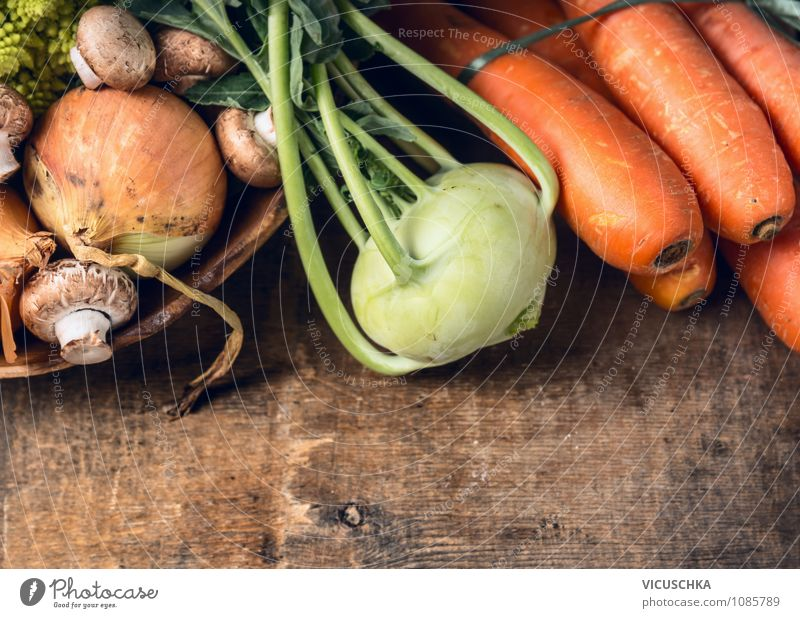 Kohlrabi and vegetables on a wooden table Food Vegetable Organic produce Vegetarian diet Diet Lifestyle Style Design Healthy Eating