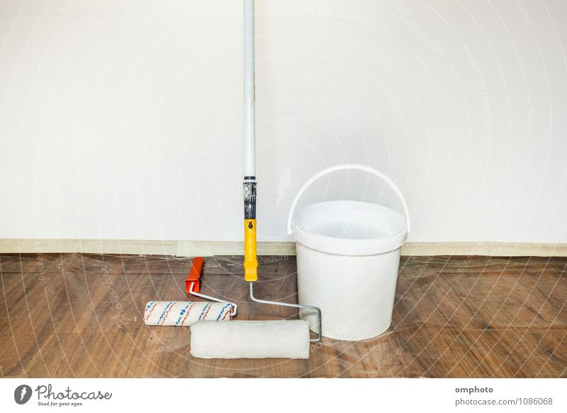 Painting rollers and bucket with a paint Design House (Residential Structure) Interior design Work and employment Tool Painting and drawing (object) Coat Tin