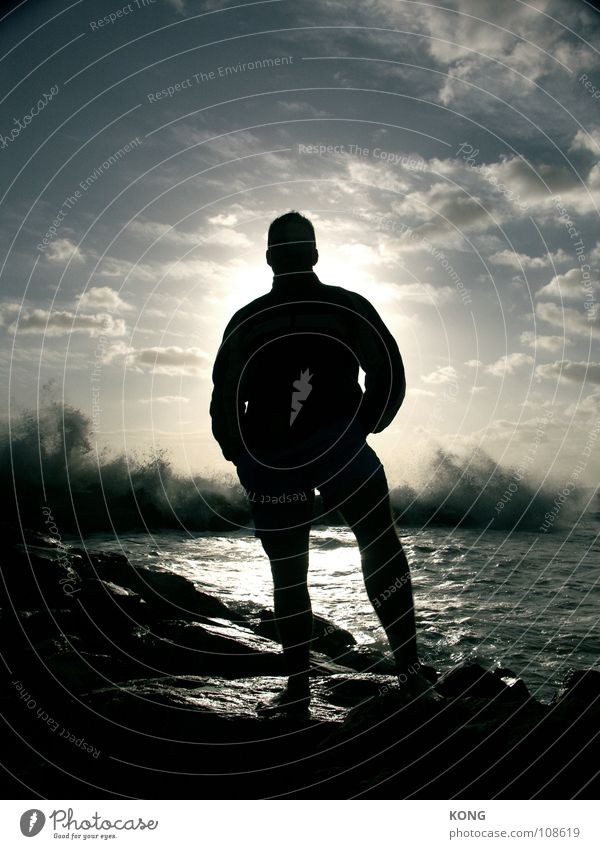 i am a rock Shadow Easygoing Bulky Large Strong Waves White crest Ocean Back-light Colossus Power Force Man Rock Cool (slang) Water Coast Silhouette Full-length