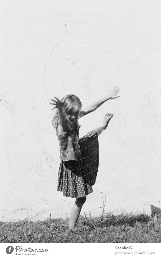 Child Girl Joy Meadow Wall (barrier) Contentment Dance Room Arm Electricity Traffic infrastructure Ballet Gymnastics Dancer