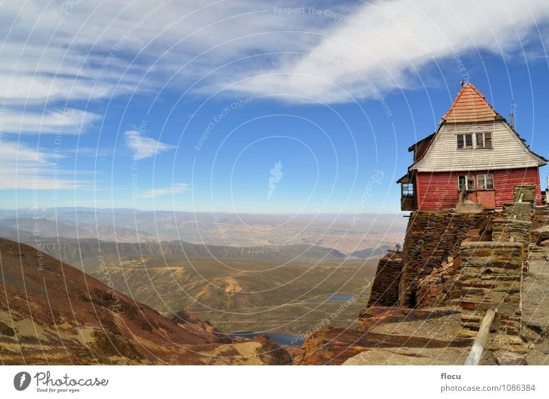 House on rocky cliff near La Paz, Chacaltaya, Bolivia Sky Nature Vacation & Travel Blue Landscape Clouds House (Residential Structure) Forest Environment