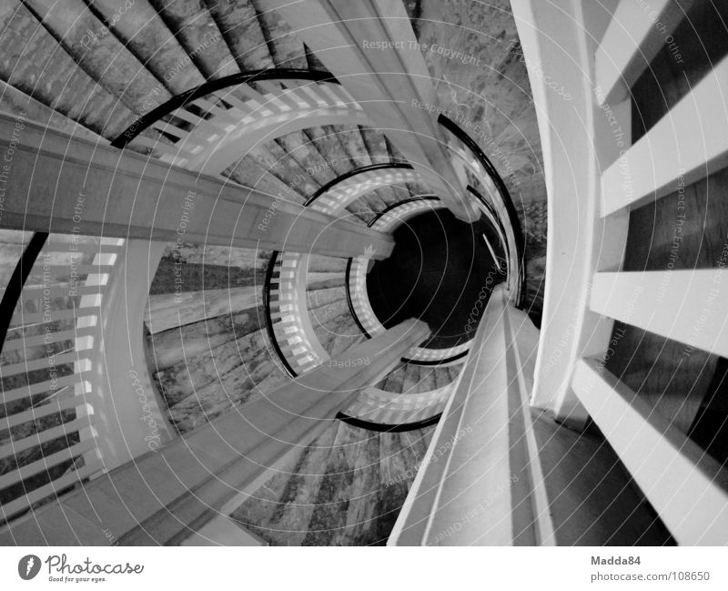 staircase Winding staircase Whirlpool Suction Black & white photo Snail Swirl Marble Downward Stairs