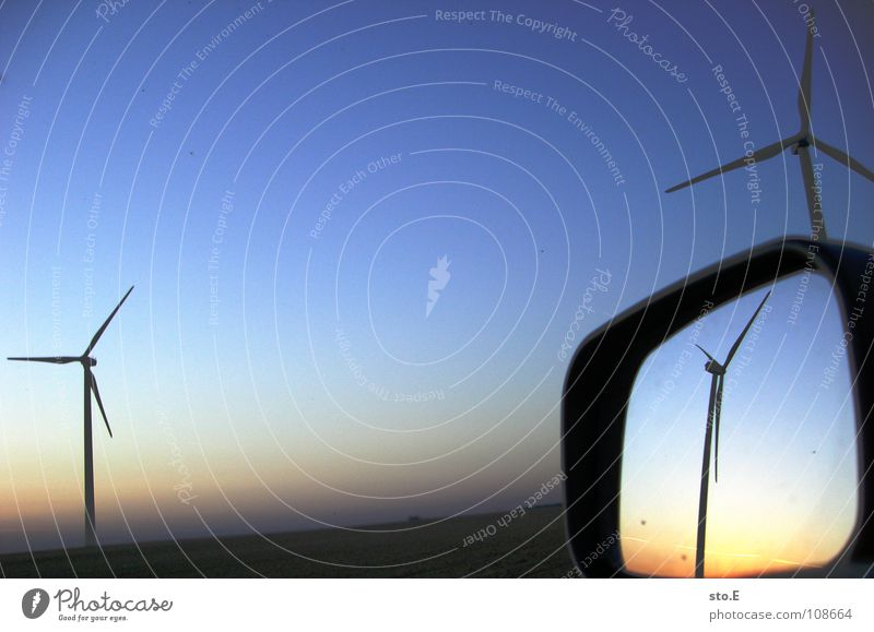Nature Sky Blue Red Far-off places Meadow Car Landscape Field Wind Environment Horizon 3 Industry Circle Energy industry