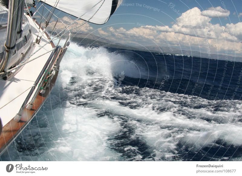 Sky Water Vacation & Travel Ocean Summer Clouds Sports Freedom Wood Movement Jump Horizon Watercraft Waves Speed Sailing