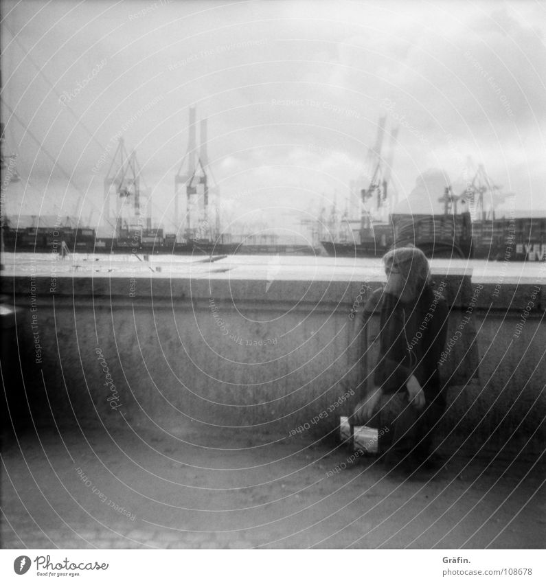 Waiting II Release Beach Medium format Boots Woman Girl Bag Crane Waves Tide Low tide Surf Expulsion Longing Hand Blur Wall (barrier) 2 Double exposure Harbour