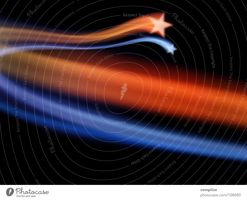 Shooting star [*] Design Sun Lamp Christmas & Advent New Year's Eve Shows Sky Stars Stripe Kitsch Blue Orange Red Black Universe Meteor The eighties Disco