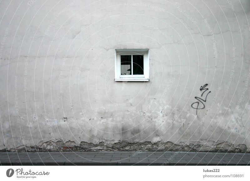 Wall with window Vilnius Detail Historic old white grey pale sidewalk pavement reflection nice cement texture old town stucco decay weathered rough mouldy