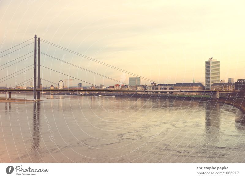 City Germany High-rise Europe Beautiful weather Bridge River Skyline Capital city Downtown Old town City trip Duesseldorf North Rhine-Westphalia