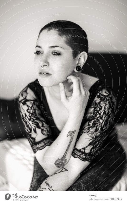 Human being Youth (Young adults) Beautiful Young woman 18 - 30 years Adults Feminine Exceptional Uniqueness Tattoo Bald or shaved head Piercing Short-haired Androgynous Body art