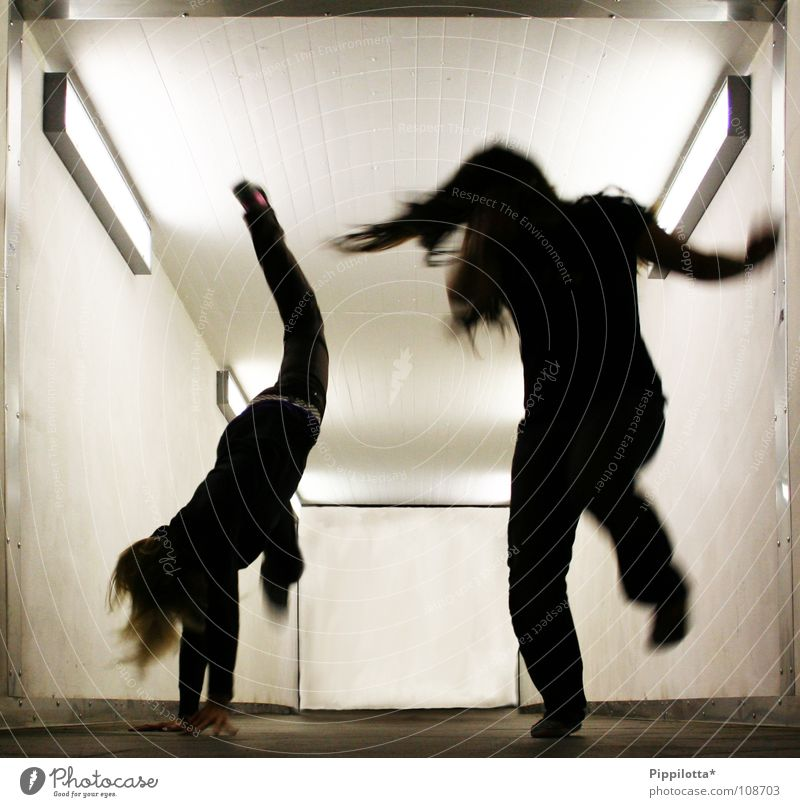 FreAkS =) Dark Tunnel Light Freak Crazy Hop Jump Cartwheel On the head Aggression Evening Night Action 2 Anger Joy Movement in action Walking trudge