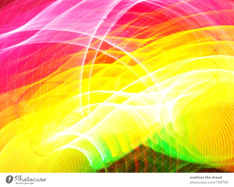 Colours 3 Multicoloured Green Yellow Red Pink Circle Light Geometry Edge Point White Joy annular Structures and shapes Line Blur