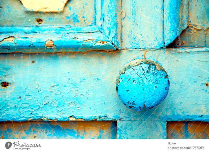 and rusty safe padlock Old Blue House (Residential Structure) Wall (building) Architecture Style Building Wall (barrier) Sand Dirty Design Decoration Door Retro Protection Safety