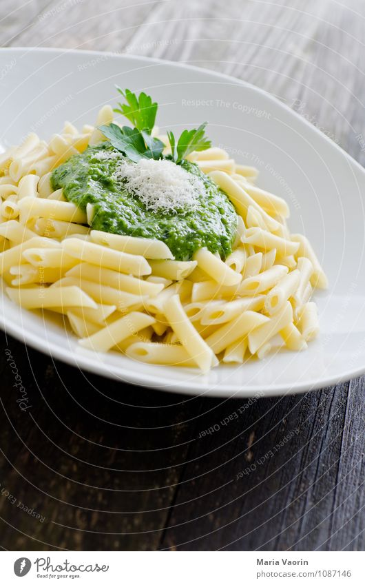 Selfmade Pesto Food Nutrition Lunch Vegetarian diet Plate Fresh Healthy Delicious Green Italien pesto Parsley Noodles Wooden table Kitchen Parmesan Self-made