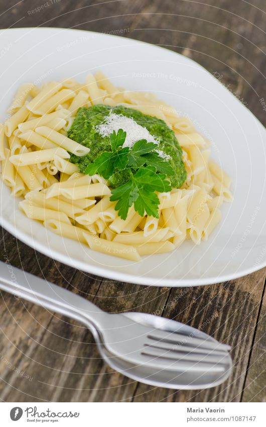 First of all noon Food Herbs and spices Nutrition Lunch Vegetarian diet Italian Food Plate Cutlery Fork Spoon Fresh Healthy Delicious Green Italien pesto