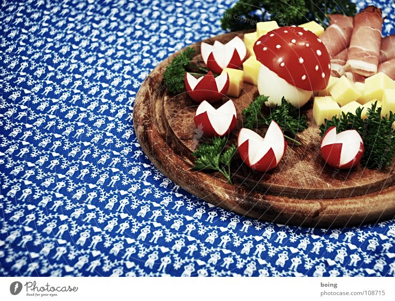 Fly agaric plate for my friends. For my good friends Ham Cheese Delicacy Radish Chopping board Table Meal Parsley Amanita mushroom Folk-dance Buffet