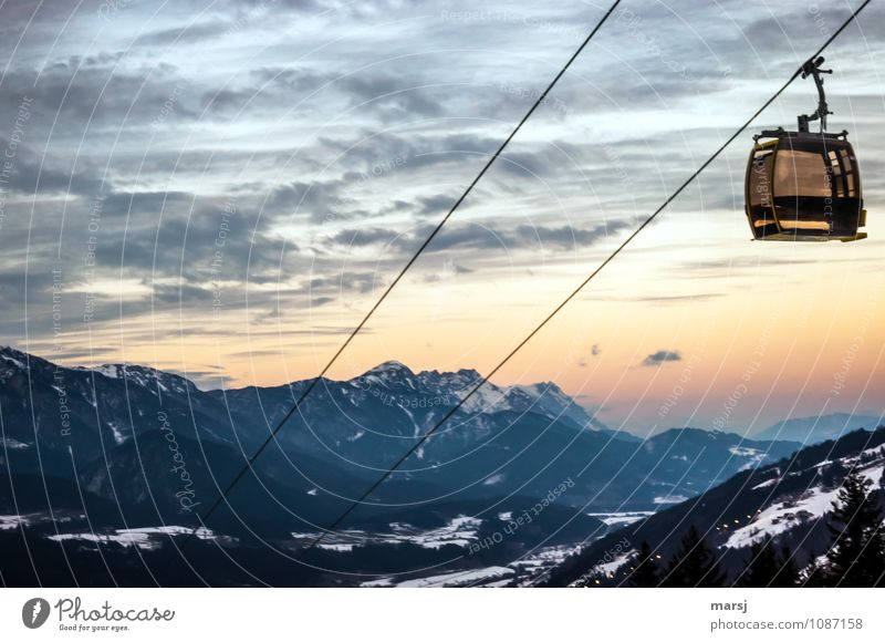 Sky Nature Vacation & Travel Landscape Clouds Winter Dark Mountain Snow Moody Tourism Hiking Speed Trip Beautiful weather Rope