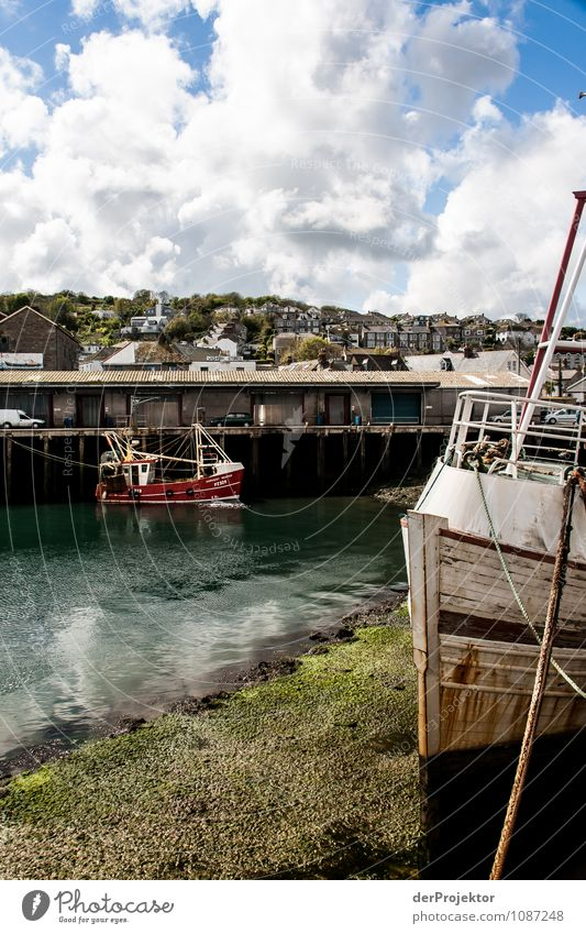 Ebb tide at the port Environment Landscape Spring Waves Coast North Sea Island Fishing village Harbour Tourist Attraction Navigation Steamer Fishing boat Anchor