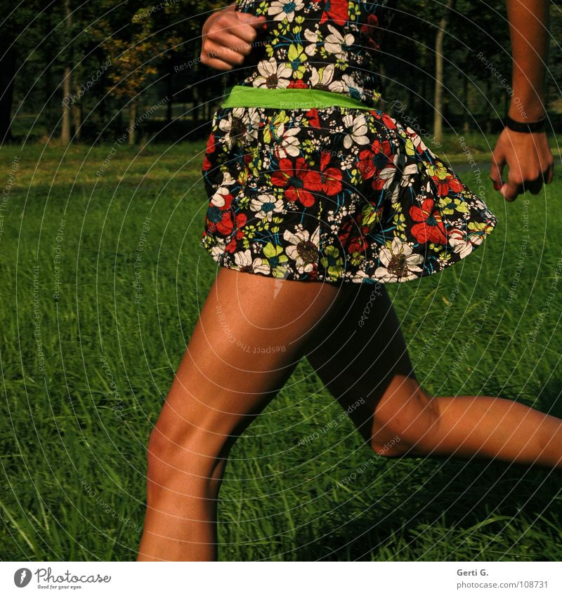 loping Dress Woman Young woman Thin Firm Wiry Healthy Leisure and hobbies Meadow Running Brown Summer Summery Juicy Walking Knee Pattern Multicoloured