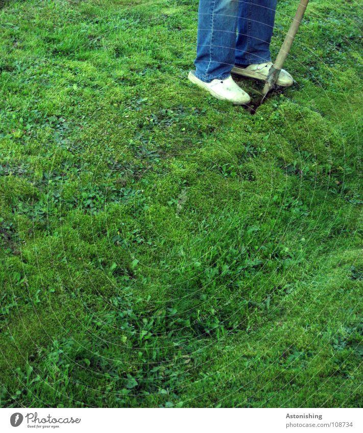 Digging for Australia Work and employment Shovel Man Adults Legs Feet Environment Nature Landscape Summer Beautiful weather Plant Grass Garden Meadow Pants