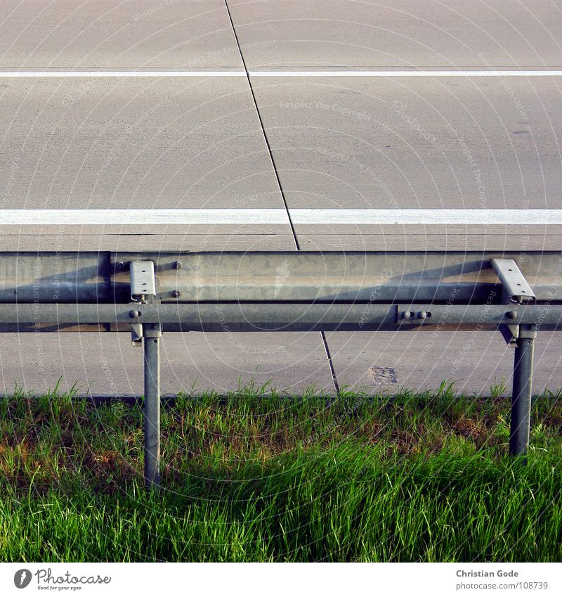 guardrail Highway Crash barrier Seam Median strip Meadow Concrete Asphalt Gray Green White Curb Above Automobile breakdown service Things Motorsports Street