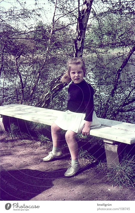 Child Girl Tree Summer Lanes & trails Break Bench Sixties