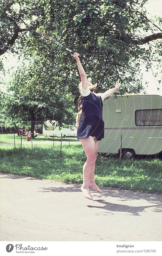 Withdrawn Badminton Vacation & Travel Camping Girl Child Jump Tree Caravan Summer Seventies Joy Playing Sun Movement Athletic
