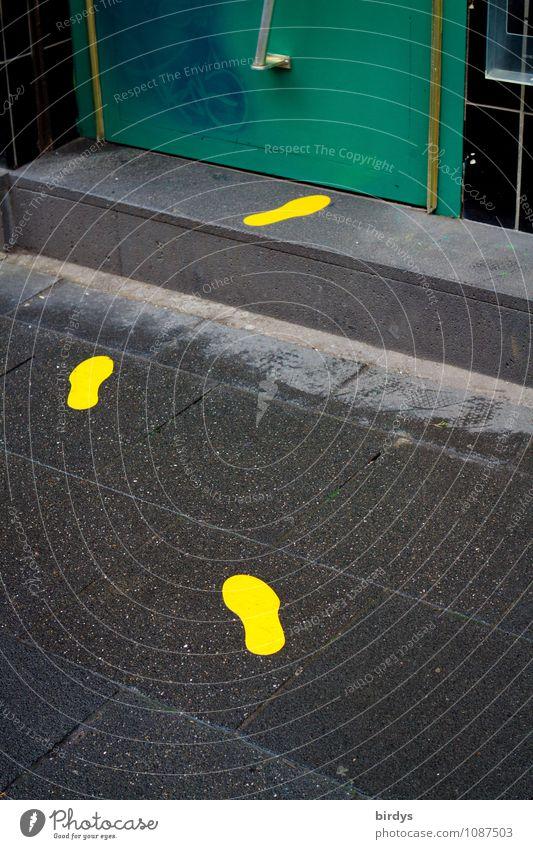 groundbreaking Store premises Door Stairs Sign Footprint Walking Illuminate Uniqueness Yellow Gray Green Black Curiosity Movement Lanes & trails Trend-setting