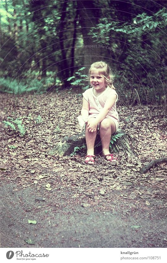 How cute! Child Girl Forest Tree Summer Sixties Leaf Joy Sit Laughter