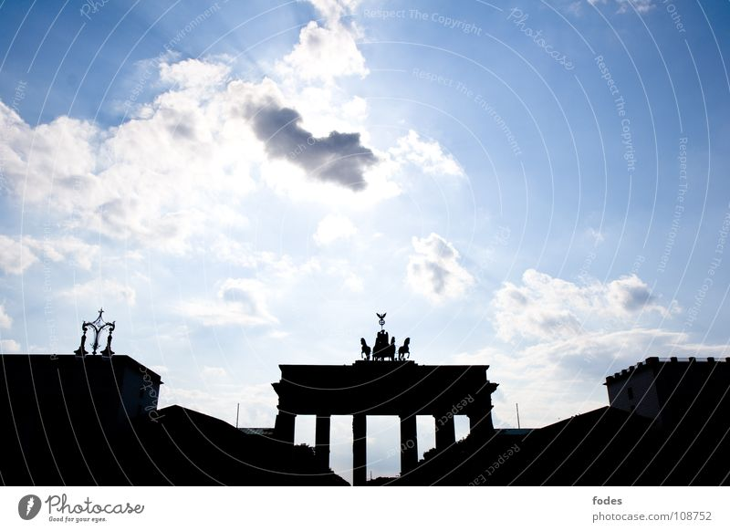 Gate to heaven Brandenburg Gate Reunification Clouds Town Monument East Ossi Passage German Unification Day Berlin Peace Germany GDR Consistent Sky Blue Vest