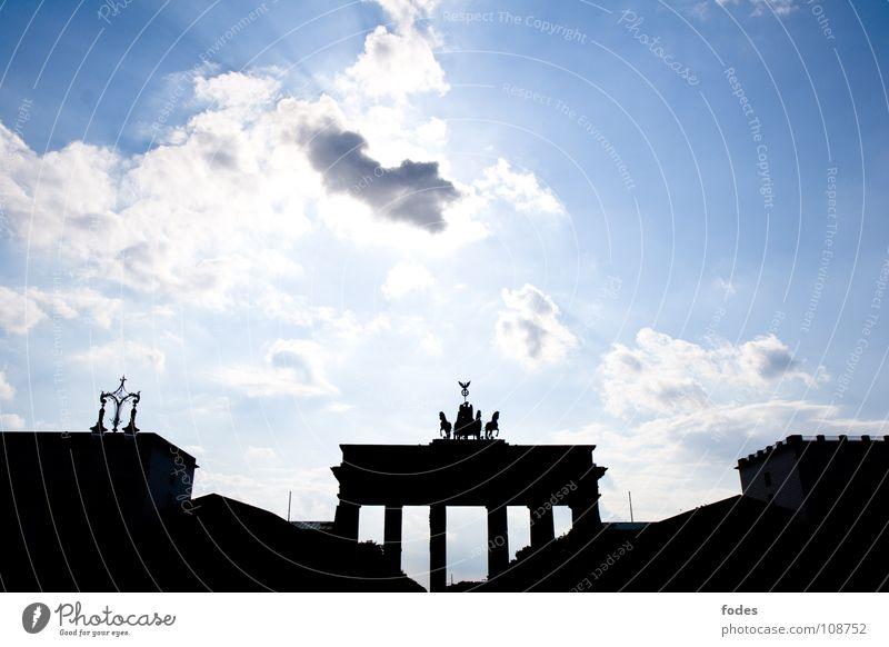 Sky Blue City Clouds Berlin Freedom Germany Peace Monument GDR East Reunification Passage Vest Consistent Brandenburg Gate