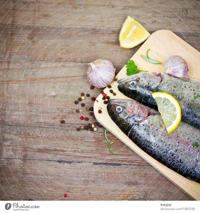 trout Trout Fish Lemon Barbecue (apparatus) Barbecue (event) Raw Rosemary Garlic Clove of garlic Healthy Eating Dish Food photograph Nutrition Protein