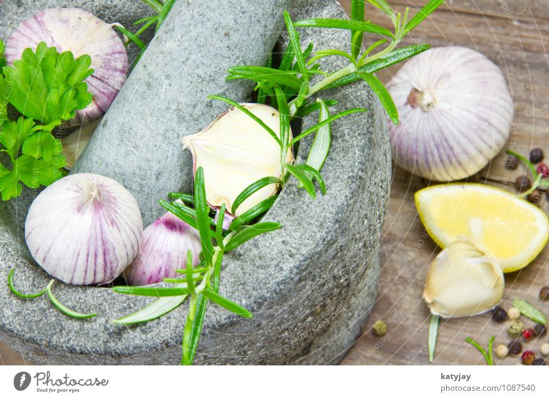 Herbs in a mortar Garlic Clove of garlic Rosemary Mortar Cooking Lemon Aromatic Food Healthy Eating Dish Food photograph Fresh Herbs and spices Green Pepper