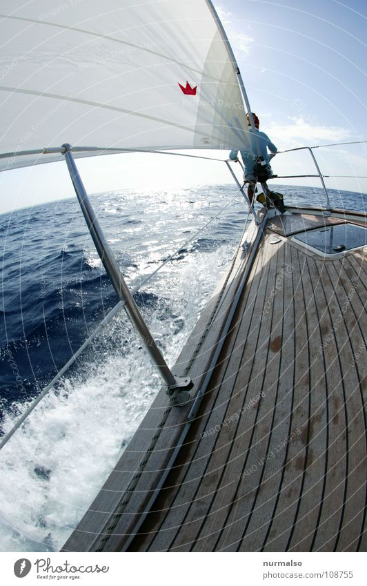 the world ahead Ocean Sailing Anchor White crest Waves Driving Swell Sport boats Croatia Horizon Vantage point Wanderlust Sports Playing jib pulpit Blue Point