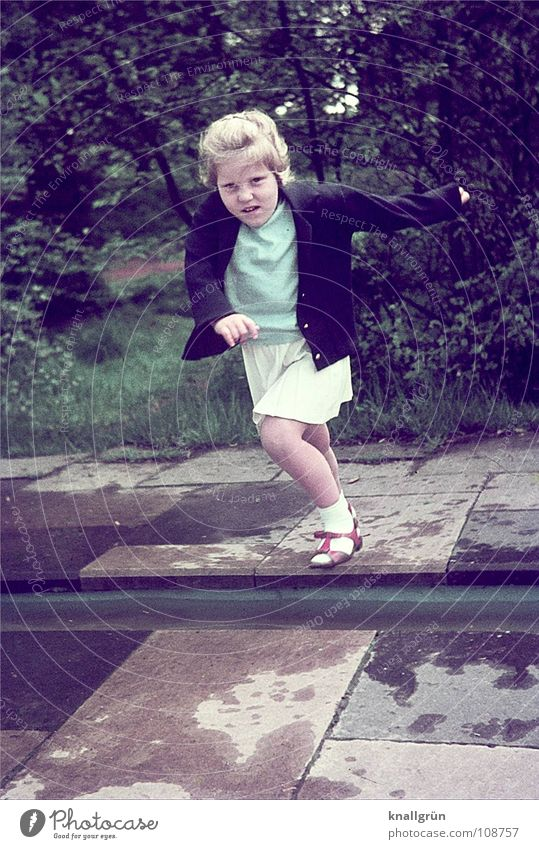 Child Girl Tree Summer Meadow Jump Stone Concentrate Brave Gutter Test of courage Water mark