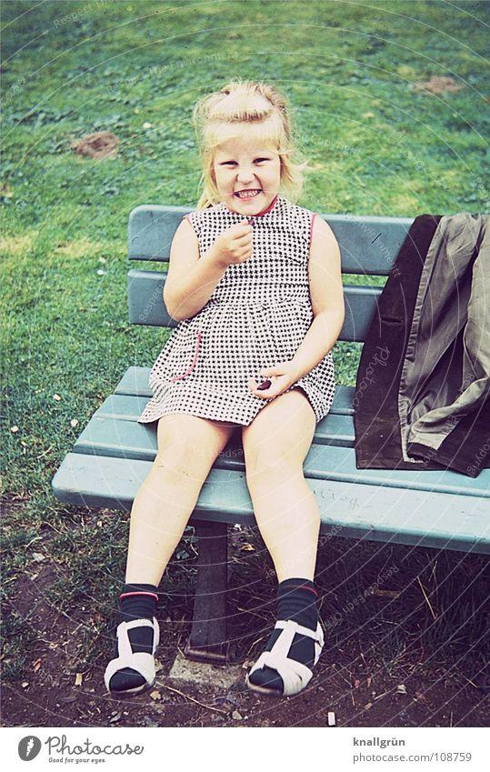Be happy Child Girl Summer Meadow Sixties Jacket Green Joy Lawn Bench Happy