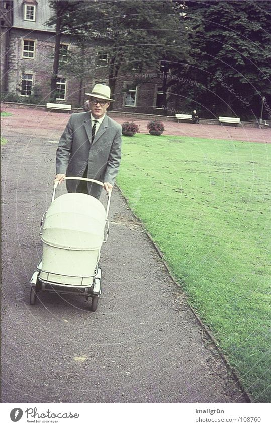 emancipation Park Summer Trip Baby carriage Man Father Meadow 1962 Lanes & trails Hat Modern man