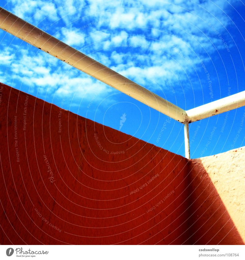 un petit coin de paradis Physics Sky Balcony Clouds Detail Summer Warmth sunshine railing Handrail shade Shadow Angle Corner Orange blue perspective