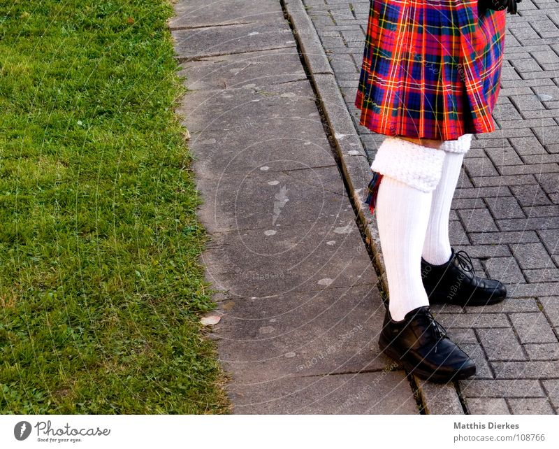 BULKHEADS Scotland Kilt Stockings Footwear Leather shoes Black Patent shoes Green Meadow Green space Checkered Airy Jewellery Adorned Joy Funny Highlander Boast