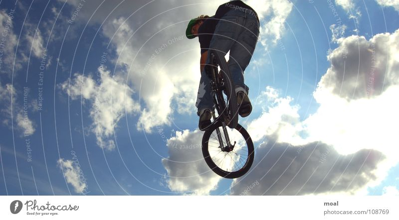 Sky Clouds Sports Style Air Bicycle Action Cool (slang) Mountain bike Janitor Extreme sports Screamo