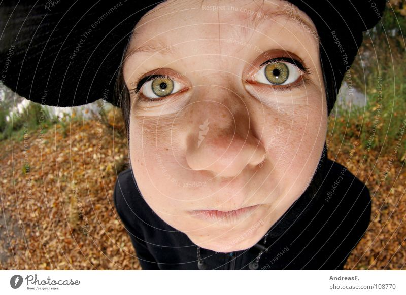 Woman Nature Youth (Young adults) Girl Joy Face Leaf Eyes Autumn Mouth Nose Crazy Cap Cheek Autumn leaves