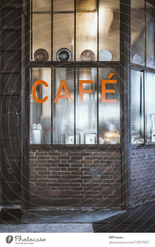 cafe Sign Characters Signs and labeling Signage Warning sign Warning light Orange Store premises Colour photo Interior shot Deserted Copy Space right