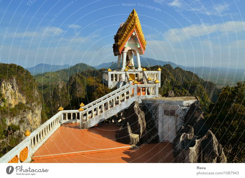 Buddhist mountain peak in Krabi, Southern Thailand Sky Vacation & Travel Blue Beautiful Mountain Face Architecture Building Religion and faith Art Gold Tourism