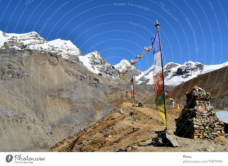 Buddhist prayer flags flowing in the wind in Himalayas Face Vacation & Travel Winter Snow Mountain Hiking Climbing Mountaineering Landscape Sky Wind Park Rock