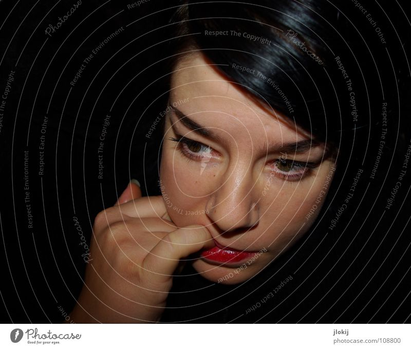 Unobserved Woman Portrait photograph Dark Hand Fingers Exceptional Black Lips Eyebrow Bird's-eye view Nutrition Meal Part Think Surprise Beautiful Feeble Face