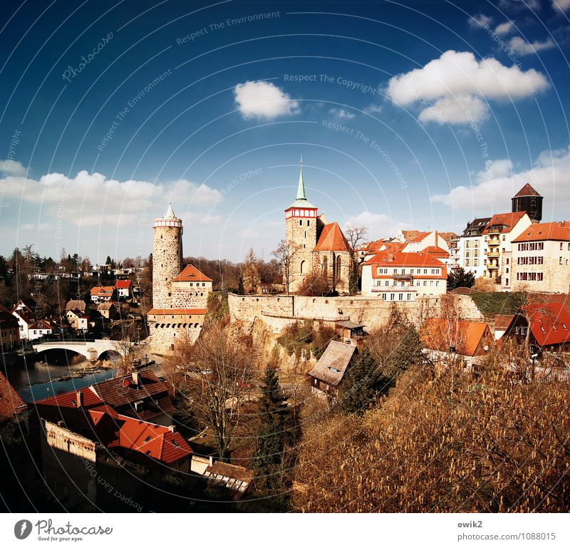 Good old town Sky Clouds Horizon Beautiful weather Tree Bautzen Lausitz forest Germany Small Town Old town Skyline Populated House (Residential Structure)