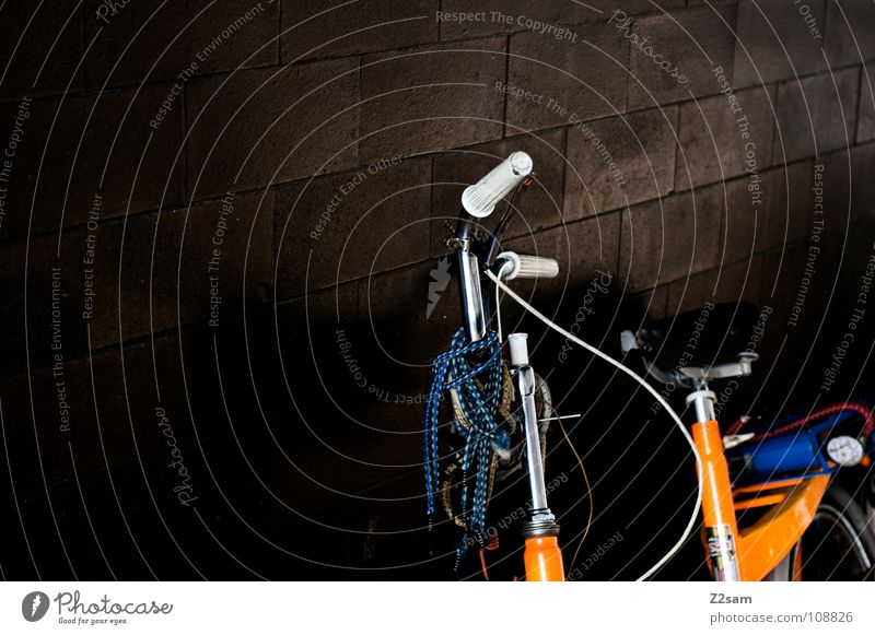 Old Dark Wall (building) Orange Bicycle Glittering Stand Retro Things Tile Jewellery Stupid Hang Embellish Means of transport Flashy