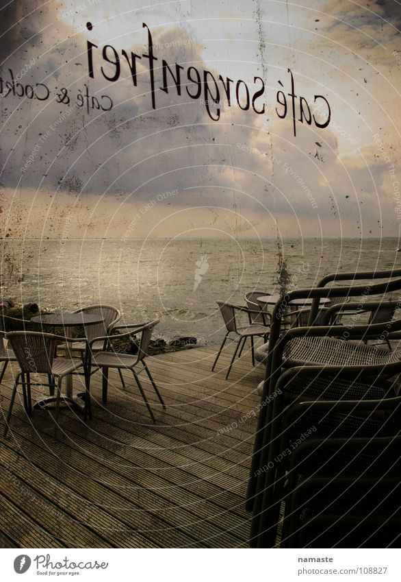 cafe carefree...that really exists:-) Café Ocean Moody Clouds Retro Power Force terrace Evening