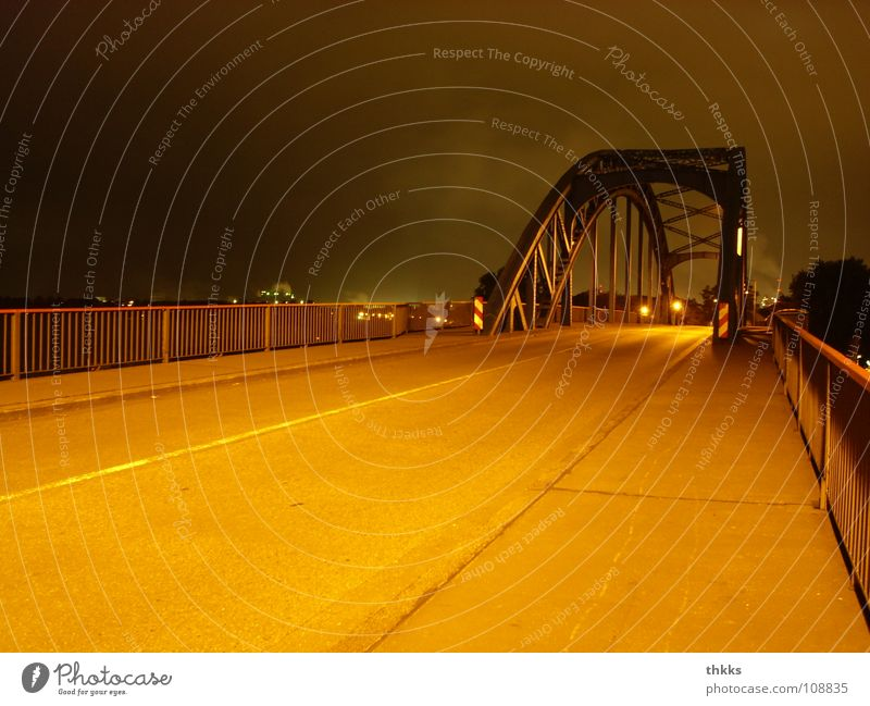 closed! Duisburg Ruhrort Night Bridge Industry Autumn laar Street nowhere Loneliness