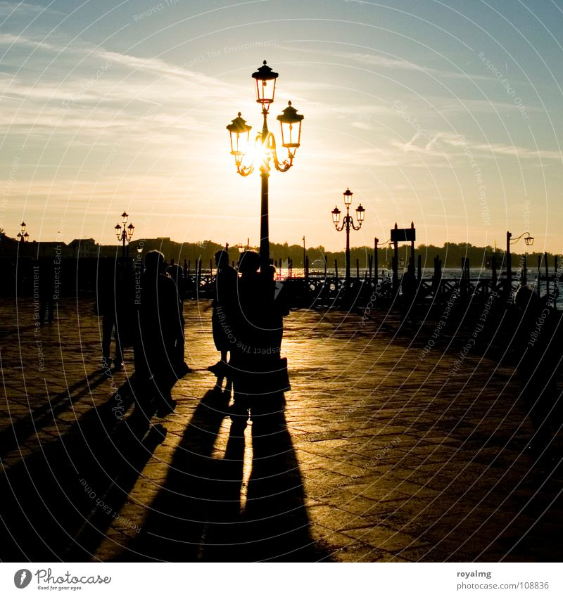 ray of hope Sunrise Venice Italy Yellow Lantern Lamp Moody Group Harbour Traffic infrastructure Contrast Blue Sky Coast Relaxation Free Human being