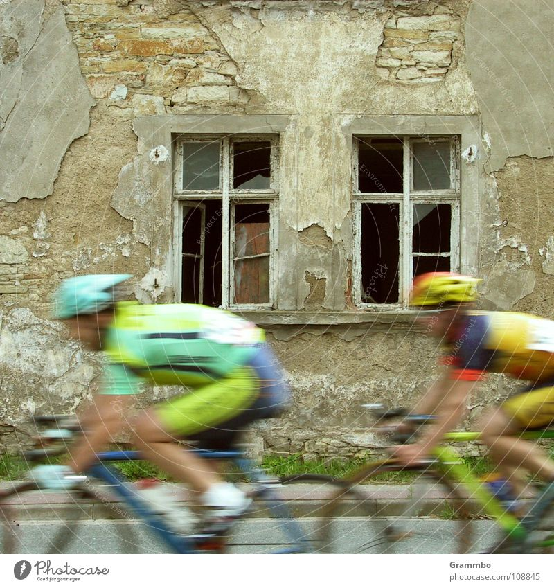 Old House (Residential Structure) Window Sports Movement Bicycle Speed Fitness Ruin Helmet Jersey Cycle race Doping